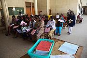 A busy waiting area in Mulago hospital, Uganda.