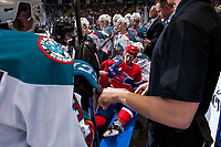 KELOWNA, CANADA - JANUARY 10: Zach Fischer #9 of the Spokane Chiefs gets up from the floor of the Kelowna Rockets' bench after a scuffle with Cal Foote #25 of the Kelowna Rockets on January 10, 2017 at Prospera Place in Kelowna, British Columbia, Canada.  (Photo by Marissa Baecker/Shoot the Breeze)  *** Local Caption ***