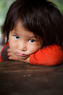 A portrait of a young Sherpa girl, Annapurna Sanctuary, Nepal
