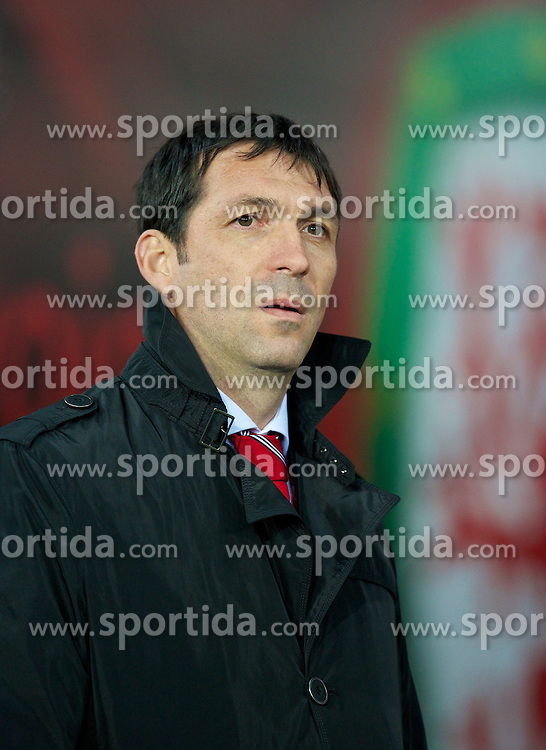11.10.2013, City Stadion, Cardiff, WAL, FIFA WM Qualifikation, Wales vs Mazedonien, Gruppe A, im Bild Macedonia's manager Zoran Stratev before the FIFA World Cup Qualifier Group A Match between Wales and Macedonia at the City Stadium, Cardiff, Wales on 2013/10/11. EXPA Pictures © 2013, PhotoCredit: EXPA/ Propagandaphoto/ David Rawcliffe<br /> <br /> ***** ATTENTION - OUT OF ENG, GBR, UK *****