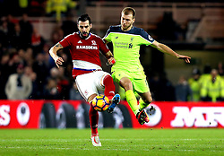 Alvaro Negredo of Middlesbrough beats Ragnar Klavan of Liverpool to the ball - Mandatory by-line: Robbie Stephenson/JMP - 14/12/2016 - FOOTBALL - Riverside Stadium - Middlesbrough, England - Middlesbrough v Liverpool - Premier League