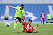 Sam Baldock of Brighton & Hove Albion battles with Jose Matos of Sevilla during the Pre-Season Friendly match between Brighton and Hove Albion and Sevilla at the American Express Community Stadium, Brighton and Hove, England on 2 August 2015. Photo by Phil Duncan.