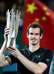 Oct. 16, 2016 - Shanghai, China - ANDY MURRAY of Great Britain is presented with the trophy after he won the Rolex Shanghai Masters tennis tournament at the Qi Zhong Tennis Center. (Credit Image: © Xinhua via ZUMA Wire)