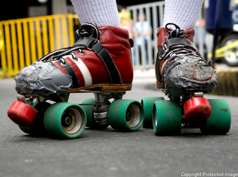 The roller skates of team member Bloody Doll