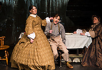 "Miss Watson (Lesley Pankhurst),  Widow Douglas (Kathleen Hill) and Huckleberry Finn (Ben Kace) during dress rehearsal for the Winnipesaukee Playhouse production of ""Big River"" at Inter Lakes High School auditorium.   (Karen Bobotas/for the Laconia Daily Sun)"
