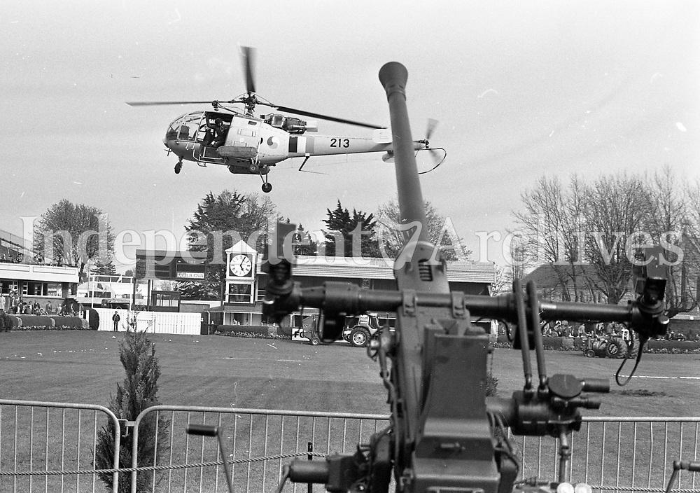 Helicopters at the RDS, Irish Air Corps Alouette III Helicopter Air Rescue demonstration, with a 40MM Bofors Anti-Aircraft Cannon at the RDS, Dublin, circa May 1983 (Part of the Independent Newspapers Ireland/NLI Collection).