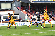 Grimsby Town's Moses Ogbu(20) scores goal to go 2-1during the EFL Sky Bet League 2 match between Grimsby Town FC and Port Vale at Blundell Park, Grimsby, United Kingdom on 24 August 2019.