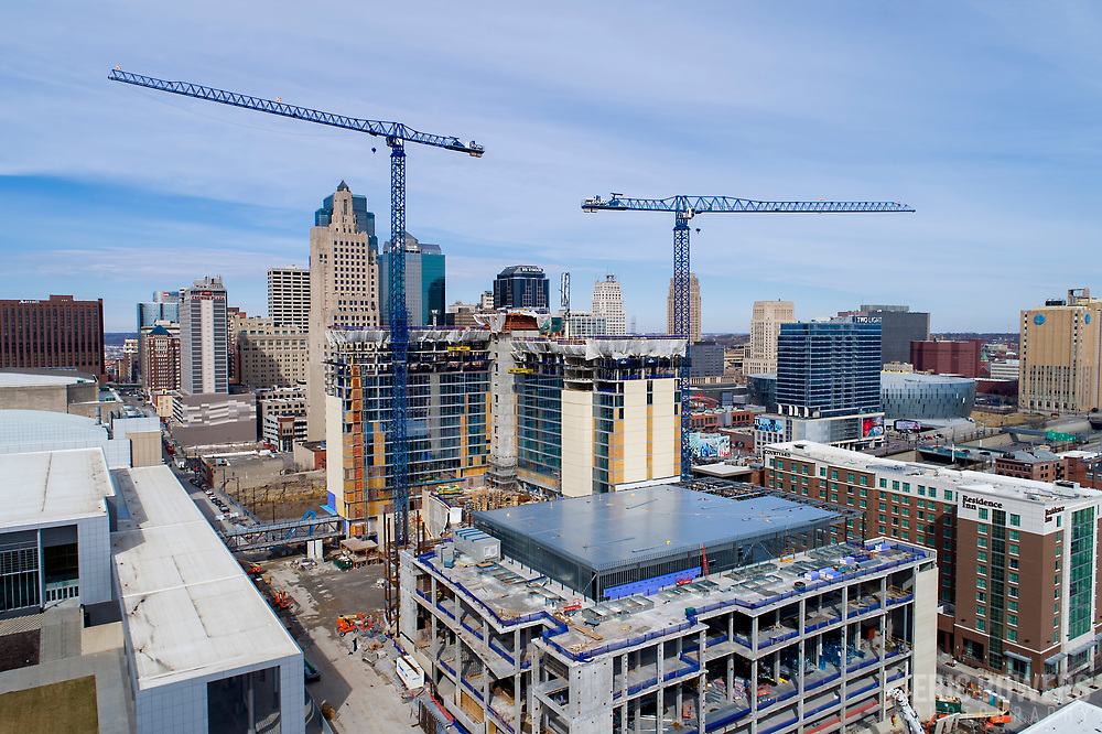 Loews Hotel under construction in downtown Kansas City, Missouri, March 2019.