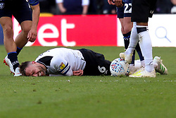 Richard Keogh of Derby County is in agony - Mandatory by-line: Ryan Crockett/JMP - 11/05/2019 - FOOTBALL - Pride Park Stadium - Derby, England - Derby County v Leeds United - Sky Bet Championship Play-off Semi Final 1st Leg