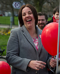 Pictured: <br /> <br /> Scottish Labour leader Kezia Dugdale was joined by Edinburgh Southern candidate Daniel Johnson for campaigning and a walkabout in the Meadows. <br /> <br /> Ger Harley | EEm 17 April 2016