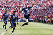 Manchester United Andreas Pereira scores a goal and celebrates 1-1 during the Manchester United and Liverpool International Champions Cup match at the Michigan Stadium, Ann Arbor, United States on 28 July 2018.
