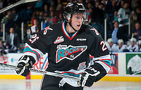 KELOWNA, CANADA - SEPTEMBER 25: Cole Linaker #26 of Kelowna Rockets skates against the Kamloops Blazers on September 25, 2015 at Prospera Place in Kelowna, British Columbia, Canada.  (Photo by Marissa Baecker/Shoot the Breeze)  *** Local Caption *** Cole Linaker;