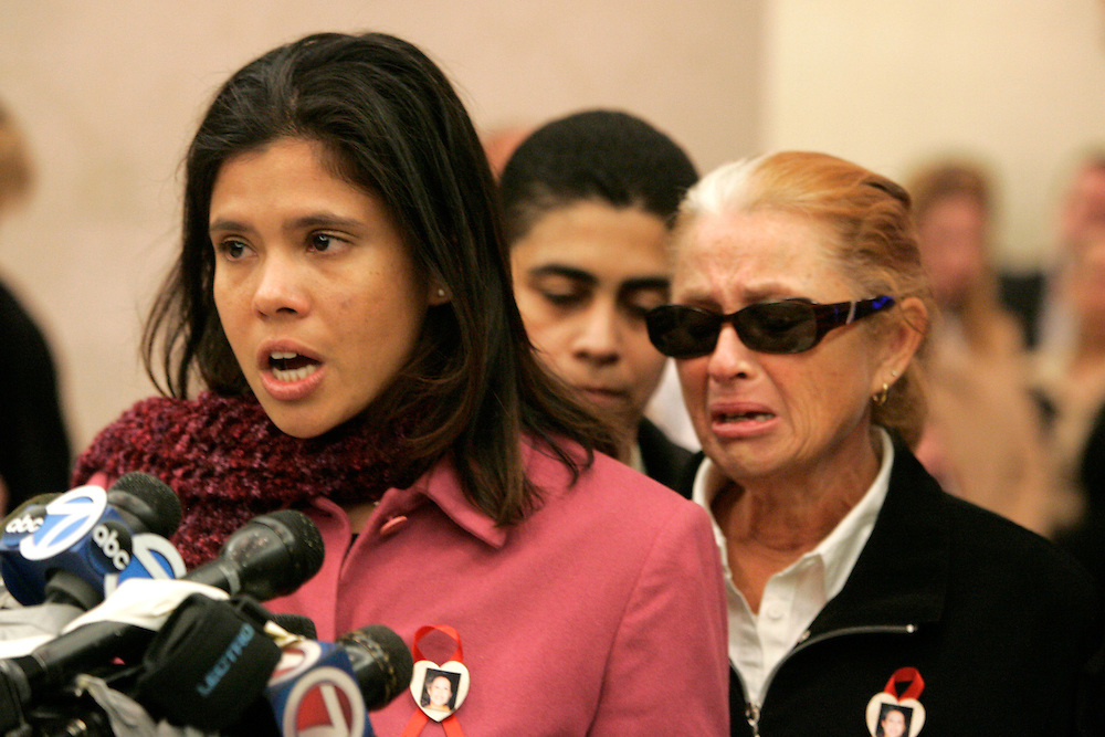 Alejandra St. Guillen (L) and Maureen St. Guillen (R) reads a statement after the arraignment of Daryl Littlejohn in Brooklyn Supream Court. Thursday 23 March 2006 Daryl Littlejohn was indicted in the murder of John Jay college graduate student Imette St. GuillenAndrew Gombert for the Boston Globe.