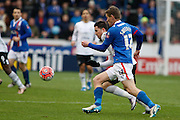 Carlisle United Midfielder Antony Sweeney battles in the midfield during the The FA Cup fourth round match between Carlisle United and Everton at Brunton Park, Carlisle, England on 31 January 2016. Photo by Craig McAllister.