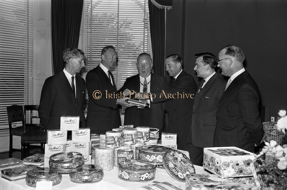 12/06/1963<br /> 06/12/1963<br /> 12 June 1963<br /> F.A. Wyatt and Co. Ltd./Peek Frean reception at the Shelbourne Hotel, Dublin. At the F.A. Wyatt presentation of the products of Peek Fream Biscuits were: Mr. Henry O'Neill, Managing Director, Punch and Co. Ltd., Cork; Mr. T.S. Maharry, Managing Director, F.A. Wyatt and Co. Ltd.; Alderman J.J. O'Keeffe T.D., Lord Mayor of Dublin; Mr. A.M.A. Battle, Export Sales Manager, Peek Fream and Co. Ltd.; Mr. Tony Corboy, Managing Director, Looney and Co., Limerick and Mr. Brian Carton, Director, Carton Brothers, Dublin.
