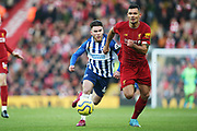 Liverpool defender Dejan Lovren (6) and Brighton and Hove Albion forward Aaron Connolly (44) during the Premier League match between Liverpool and Brighton and Hove Albion at Anfield, Liverpool, England on 30 November 2019.