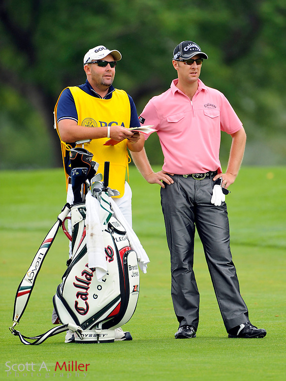 Aug 16, 2009; Chaska, MN, USA; Brendan Jones (AUS) on the third fairway with his caddie during the final round of the 2009 PGA Championship at Hazeltine National Golf Club.  ©2009 Scott A. Miller