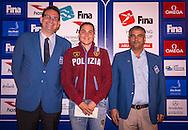 (From L to R)<br /> Jon Hestoy FINA<br /> Martina GRIMALDI ITA Italy<br /> Mubarak Abdulla Al Zahmi FINA<br /> Gala Dinner<br /> FINA/HOSA 10 Km Marathon Swimming World Cup  2016<br /> Khalideya Palace<br /> Day1  26 Feb.2016<br /> Photo G.Scala/Insidefoto/Deepbluemedia