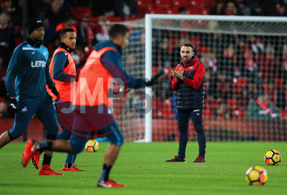 Swansea City caretaker manager Leon Britton watches over the warm up - Mandatory by-line: Matt McNulty/JMP - 26/12/2017 - FOOTBALL - Anfield - Liverpool, England - Liverpool v Swansea City - Premier League