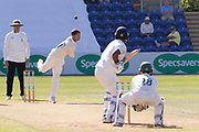 Colin Ackemann bowling to Samit Patel during the Specsavers County Champ Div 2 match between Glamorgan County Cricket Club and Leicestershire County Cricket Club at the SWALEC Stadium, Cardiff, United Kingdom on 18 September 2019.