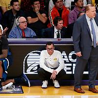 25 December 2017: Minnesota Timberwolves guard Jeff Teague (0) waits to enter the game next to Minnesota Timberwolves head coach Tom Thibodeau during the Minnesota Timberwolves 121-104 victory over the LA Lakers, at the Staples Center, Los Angeles, California, USA.