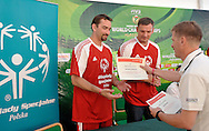 (L) Sebastian Swiderski and (C) Pawel Papke both from Poland and (R) Krzysztof Krukowski from SOEE during press conference of Special Olympics during Day 6 of the FIVB World Championships on July 6, 2013 in Stare Jablonki, Poland. <br /> <br /> Poland, Stare Jablonki, July 06, 2013<br /> <br /> Picture also available in RAW (NEF) or TIFF format on special request.<br /> <br /> For editorial use only. Any commercial or promotional use requires permission.<br /> <br /> Mandatory credit:<br /> Photo by © Adam Nurkiewicz / Mediasport