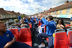 Bristol Rovers' Tom Parkes starts to cheer as the bus departs for the first destination for the Bus Tour - Photo mandatory by-line: Dougie Allward/JMP - Mobile: 07966 386802 - 25/05/2015 - SPORT - Football - Bristol - Bristol Rovers Bus Tour