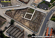 aerial photograph of Hungate Dig archaeological excavation  York Yorkshire England UK   Drone style aerial view taken in York Great Britain