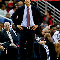 Mar 29, 2013; New Orleans, LA, USA; Miami Heat head coach Erik Spoelstra against the New Orleans Hornets during the second quarter of a game at the New Orleans Arena. Mandatory Credit: Derick E. Hingle-USA TODAY Sports