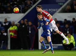Paddy McNair of Manchester United and Jamie Vardy of Leicester City in action  - Mandatory byline: Jack Phillips/JMP - 07966386802 - 28/11/2015 - SPORT - FOOTBALL - Leicester - King Power Stadium - Leicester City v Manchester United - Barclays Premier League