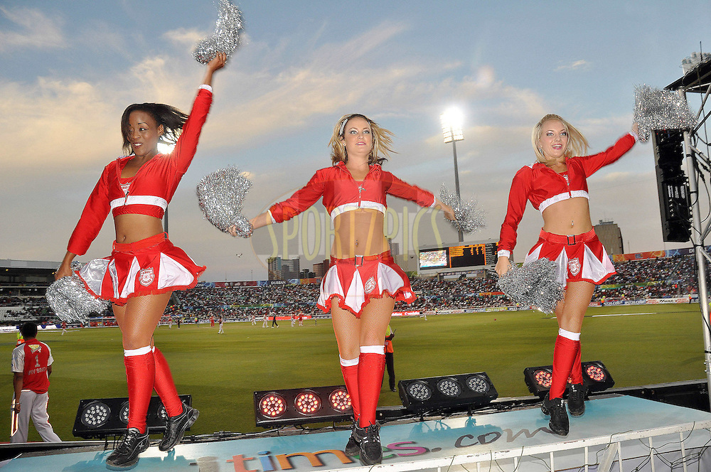 DURBAN, SOUTH AFRICA - 1 Mayl 2009. Cheerleaders during the IPL Season 2 match between Kings X1 Punjab and the Royal Challengers Bangalore held at Sahara Stadium Kingsmead, Durban, South Africa..