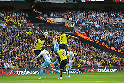 Joe Skarz of Oxford United heads the ball clear - Photo mandatory by-line: Jason Brown/JMP -  02/04//2017 - SPORT - Football - London - Wembley Stadium - Coventry City v Oxford United - Checkatrade Trophy Final