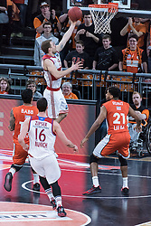 10.02.2016, ratiopharm arena, Ulm, GER, ULEB Eurocup, ratiopharm Ulm gegen FC Bayern Muenchen, Top 32 Runde, im Bild Anton Gavel #25 (FC Bayern), Augustine Rubit #21 (ratiopharm Ulm) // during the round of last 32 match of the ULEB Eurocup Basketball between ratiopharm Ulm an FC Bayern Munich at the ratiopharm arena in Ulm, Germany on 2016/02/10. EXPA Pictures © 2016, PhotoCredit: EXPA/ Eibner-Pressefoto/ Walther<br /> <br /> *****ATTENTION - OUT of GER*****