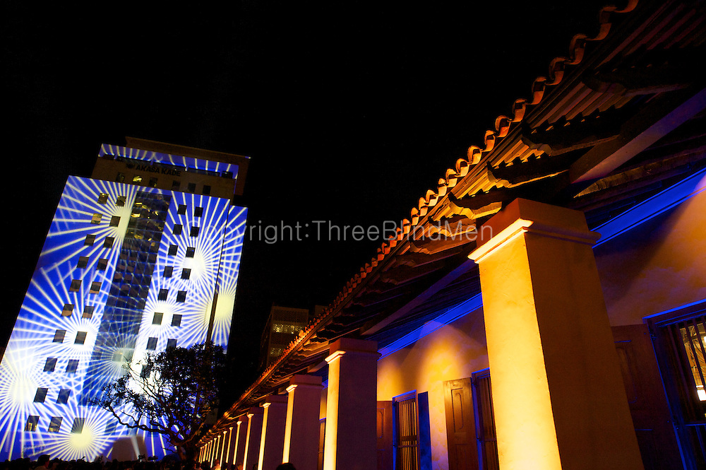 The Colombo skyline lit up for the opening of the Dutch Hospital shopping precinct on the 2nd of December 2011.<br /> Fort, Colombo.