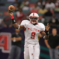 2008 December, 20: Amite quarterback Brandon Mitchell throws a pass during the Joe Johnson Pontchartrain All Star Classic between the Northshore and the Southshore at the Louisiana Superdome in New Orleans, LA. On February 4, 2009 Mitchell signed to play football at the Universtity of Arkansas.