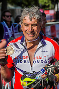 John Inverdale is happy but exhausted after finishing the London to Surrey 100. Prudential RideLondon a festival of cycling, with more than 95,000 cyclists, including some of the world's top professionals, participating in five separate events over the weekend of 1-2 August.