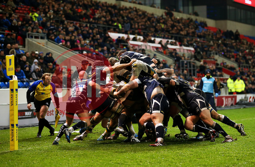 Sale Sharks and Northampton Saints players collide in the final moments of the game before a Northampton try is scored - Mandatory by-line: Matt McNulty/JMP - 03/03/2017 - RUGBY - AJ Bell Stadium - Sale, England - Sale Sharks v Northampton Saints - Aviva Premiership