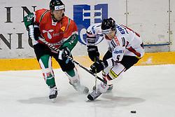 Csaba Kovacs (#2) of Hungary vs Thomas Raffl (#5) of Austria during ice-hockey match between Austria and Hungary in European Ice Hockey Challenge, on December 17, 2010 at Podmezaklja hall, Ljubljana, Slovenia. (Photo By Matic Klansek Velej / Sportida.com)