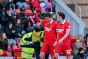 Leyton Orient goalscorer Leyton Orient defender Mathieu Baudry  during the Sky Bet League 2 match between Leyton Orient and York City at the Matchroom Stadium, London, England on 21 November 2015. Photo by Simon Davies.