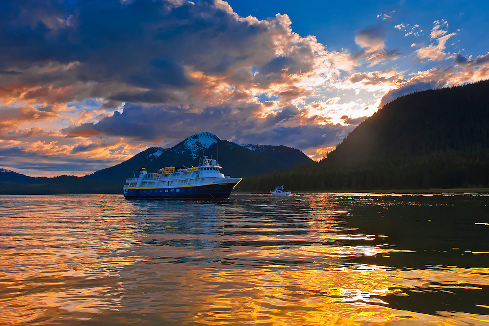 National Geographic Sea Bird (Lindblad Expeditions small cruise ship), Wrangell Narrows on the Inside Passage, Petersburg, Southeast Alaska USA