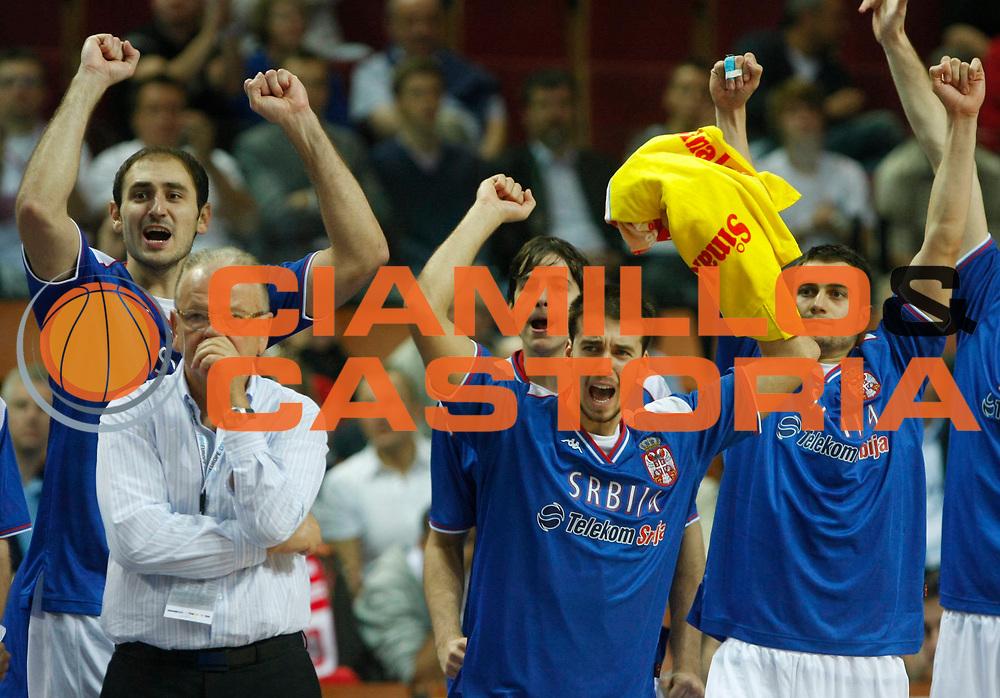 DESCRIZIONE : Katowice Poland Polonia Eurobasket Men 2009 Semifinali Semifinal Serbia Slovenia<br /> GIOCATORE : Team Serbia<br /> SQUADRA : Serbia<br /> EVENTO : Eurobasket Men 2009<br /> GARA : Serbia Slovenia<br /> DATA : 19/09/2009 <br /> CATEGORIA : esultanza<br /> SPORT : Pallacanestro <br /> AUTORE : Agenzia Ciamillo-Castoria/M.Metlas<br /> Galleria : Eurobasket Men 2009 <br /> Fotonotizia : Katowice  Poland Polonia Eurobasket Men 2009 Semifinali Semifinal Serbia Slovenia<br /> Predefinita :