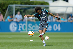 21.07.2015, Trainingsanlage FC Schalke 04, Gelsenkirchen, GER, 1. FBL, FC Schalke 04, Training, im Bild Leroy Sane (Schalke) mit Ball beim Schusstraining // during a training session of the German Bundesliga Club FC Schalke 04 at the Trainingsanlage FC Schalke 04 in Gelsenkirchen, Germany on 2015/07/21. EXPA Pictures © 2015, PhotoCredit: EXPA/ Eibner-Pressefoto/ Hommes<br /> <br /> *****ATTENTION - OUT of GER*****