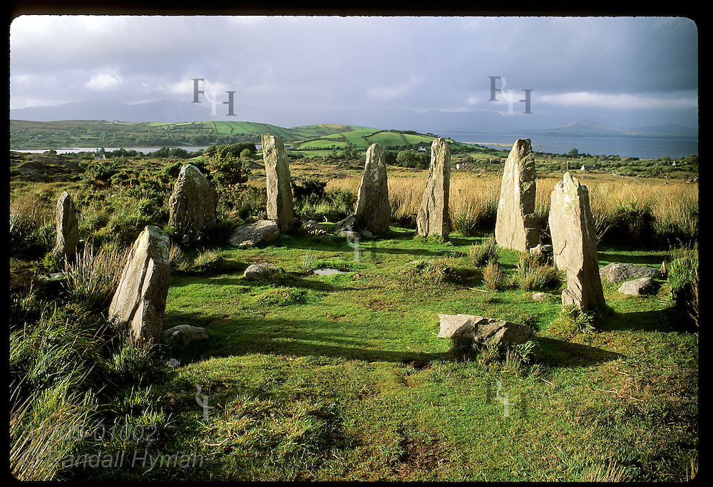 Stone circle dating from 1000BC near the town of Ardgroom is thought to be an ancient calendar; Beara Peninsula, Ireland.