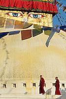 Nepal. Vallee de Kathmandu. Stupa bouddhiste de Bodnath. // Nepal. Kathmandu valley. Buddhist stupa of Bodnath.