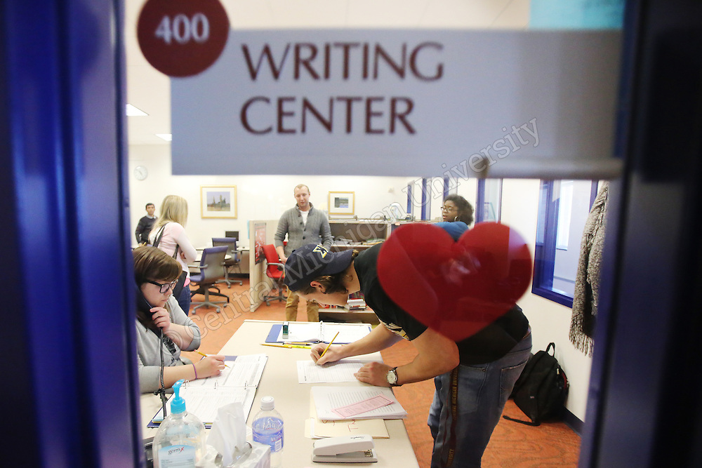 English students assist students who need help with English and writing assignments in the writing center locations in Anspach Hall, Park Library, and the Towers.<br /> Photo Intern: Katy Kildee