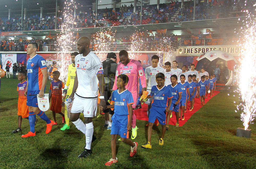 FC Goa and FC Pune City players arrive on the ground for the match 8 of the Indian Super League (ISL) season 3 between FC Goa and FC Pune City held at the Fatorda Stadium in Goa, India on the 8th October 2016.<br /> <br /> Photo by Vipin Pawar / ISL/ SPORTZPICS