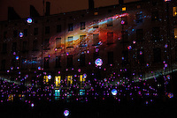LYON, FRANCE - DECEMBER 04: For four nights over 70 light installations will create a magical atmosphere in the streets, squares and parks all over the city and millions of visitors both French and from abroad will enjoy the friendly and joyful spirit of this unique event on December 4, 2014 in Lyon, France. (Photo by Bruno Vigneron/Getty Images)Laniakea<br /> Place Antonin Poncet , Lyon 2<br /> Artists: Simon Milleret-Godet &amp; J&eacute;r&ocirc;me Donna<br /> Dive into the depths of a cosmic experience and confront light particles that scintillate by the thousands in the dark. Observe this hypnotic ballet of clouds, clusters of lighted dots and stars that, just like a galaxy, shape themselves into constellation and then disintegrate.<br /> Opening hours