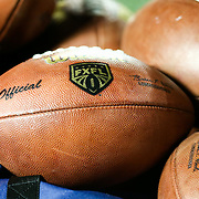 A football is seen with the FXFL logo on it prior to the first ever Boston Brawlers home game at Harvard Stadium on October 24, 2014 in Boston, Massachusetts. (Photo by Elan Kawesch)