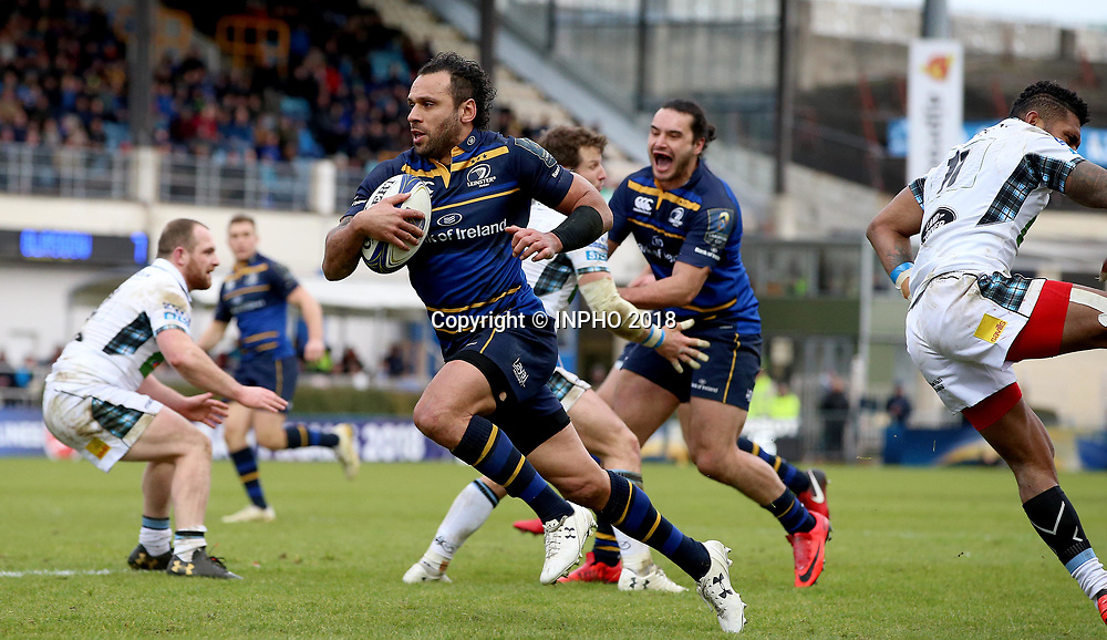 European Rugby Champions Cup Round 5, RDS, Dublin 14/1/2018<br /> Leinster vs Glasgow Warriors<br /> Leinster's Isa Nacewa runs in a try<br /> Mandatory Credit &copy;INPHO/Tommy Dickson