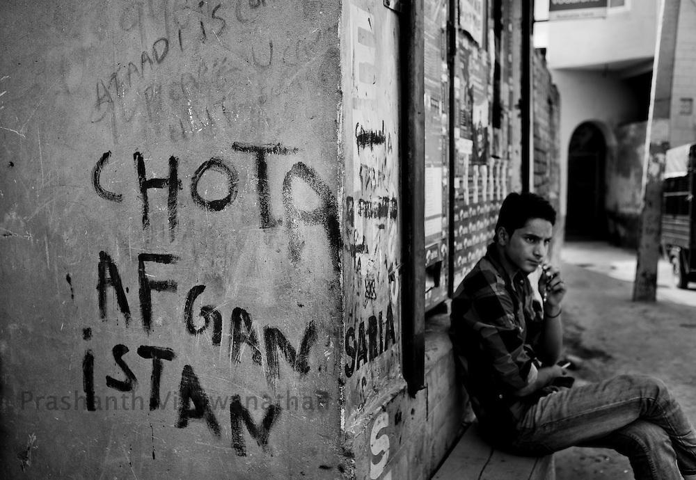 Wall graffitti,  Srinagar, September 2011, Kashmir, India. Photographer: Prashanth Vishwanathan